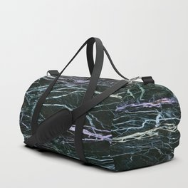 Black Marble With Colored Veins Duffle Bag