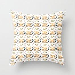Ethnic symmetrical floral ornament Throw Pillow