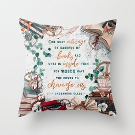 Be careful of books Throw Pillow