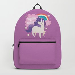 Unicorns Are Awesome With Clouds and Rainbow Backpack