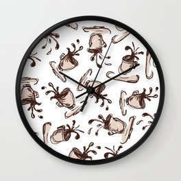 Flying cups with spilling coffee Wall Clock