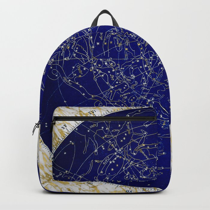 Constellation Stars blue space map on gold marble Backpack