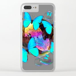 ABSTRACT NEON BLUE BUTTERFLIES & SOAP BUBBLES GREY COLOR Clear iPhone Case