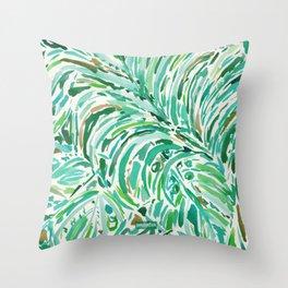 LUSH FREEDOM Watercolor Palm Print Throw Pillow