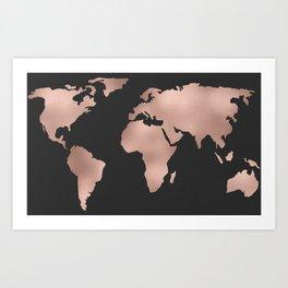 Rose Gold World Map on Dark Gray Art Print