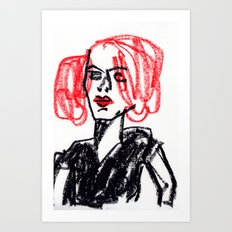 red hair girl Art Print