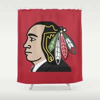 blackhawks Shower Curtains featuring Al Capone Blackhawk by beejammerican