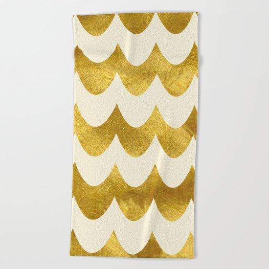 Cream Gold Foil 04 Beach Towel