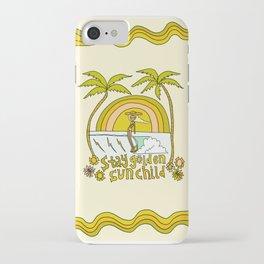 stay golden sun child //retro surf art by surfy birdy iPhone Case