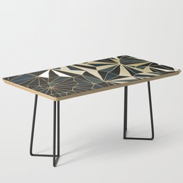 New Art Deco Geometric Pattern - Emerald green and Gold Coffee Table