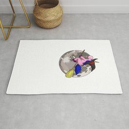 Unicorn Witch Moon, It's Show Time Funny Halloween Horror Scary Rug