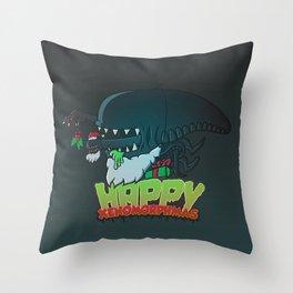 Happy Xenomorphmas Throw Pillow