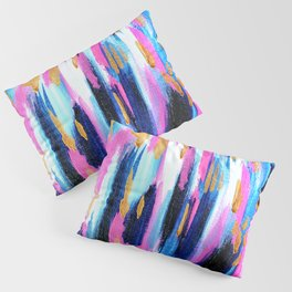 Spring Golden - Pink and Navy Abstract Pillow Sham