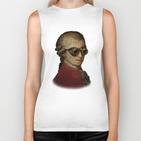 mozart Biker Tanks featuring Funny Steampunk Mozart by Paul Stickland for StrangeStore