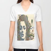 marylin monroe V-neck T-shirts featuring Medusa Monroe  by Ty McKie Creations