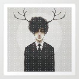 BLACK SUIT ANTLERS Art Print