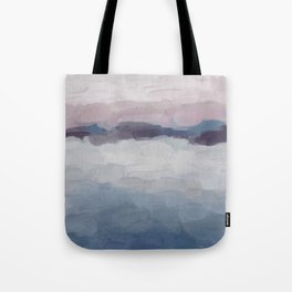 Plum Purple Lavender Blue Abstract Painting Ocean Waves Cloud Horizon, Modern Wall Art, Digital Tote Bag