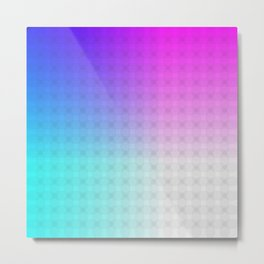 Cyan Blue Purple and White Ombre Circle Grid Metal Print
