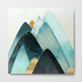 Gold and Blue Hills Metal Print