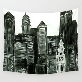 Black and White Philly Skyline Wall Tapestry