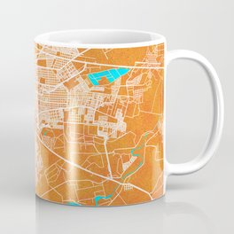 Durango, Mexico, Gold, Blue, City, Map Coffee Mug