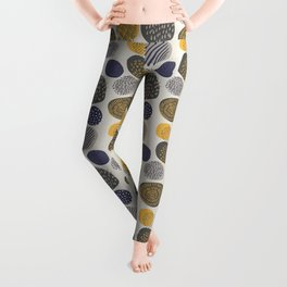 Abstract Circles in Mustard, Charcoal, and Navy Leggings