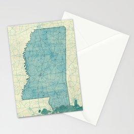 Mississippi State Map Blue Vintage Stationery Cards