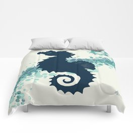 """""""Seahorse Silhouette"""" ` digital illustration by Amber Marine, (Copyright 2015) Comforters"""