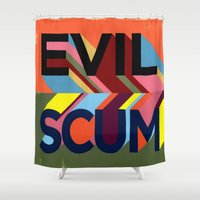 resident evil Shower Curtains featuring EVIL SCUM by FAMOUS WHEN DEAD