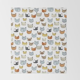 Cat Face Doodle Pattern Throw Blanket