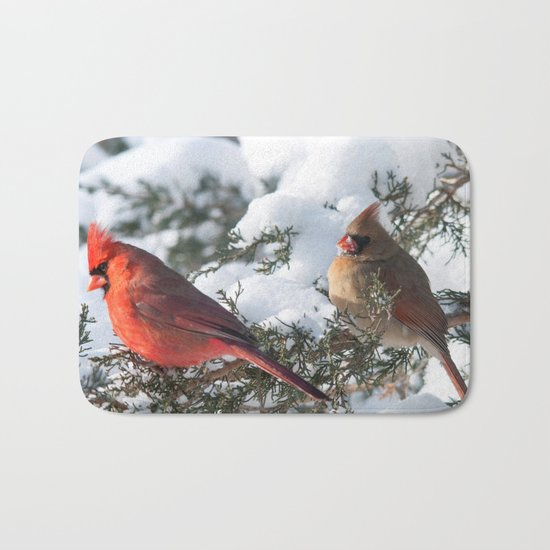 Sunny Winter Cardinals (square) Bath Mat