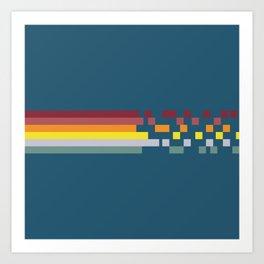 Classic 70s Retro Rainbow Racing Stripes Pixel Drops - Aichiyo Art Print
