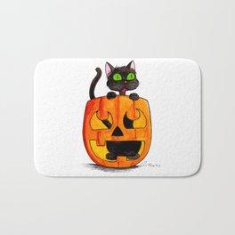 If I Fits I Sits: Halloween Pumpkin Cat Bath Mat