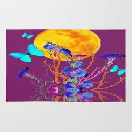 BLUE BUTTERFLIES & MOON WATER GARDEN  REFLECTION Rug