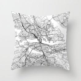 Stockholm White Map Throw Pillow