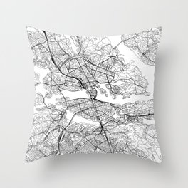 Stockholm White Map Throw Pillow