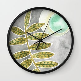 Mint Moon and Leaves Wall Clock