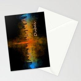 Dubai, emirates, City Cityscape Skyline watercolor art v4 Stationery Cards