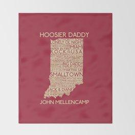 Hoosier Daddy, John Mellencamp, Indiana map art Throw Blanket