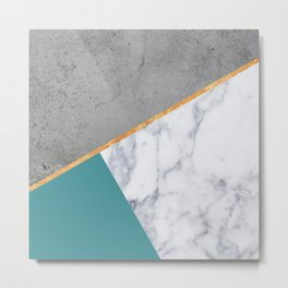 MARBLE TEAL GOLD GRAY GEOMETRIC Metal Print