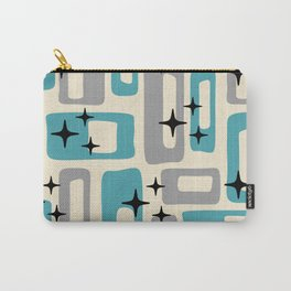 Retro Mid Century Modern Abstract Pattern 223 Blue and Gray Carry-All Pouch
