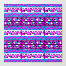 Latin American Pattern Pink Purple Blue. Funky Art. Colourful Pattern Canvas Print