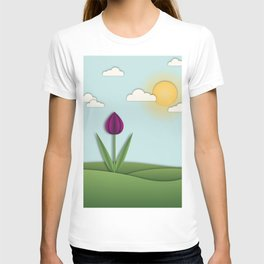 3D tulip layred dimensional garden landscape T-shirt
