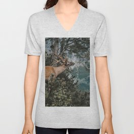 The Mountain Deer - Landscape and Nature Photography Unisex V-Neck