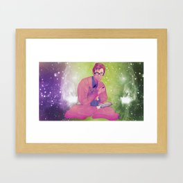 Tenth Doctor Who with Kitten Framed Art Print
