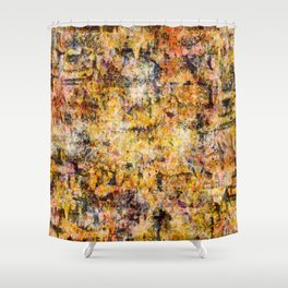 Urban Grunge Decay Texture Abstract Pattern Design , Rugged Mixed Media Modern Art Painting Shower Curtain