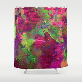 Fusion In Pink And Green Shower Curtain