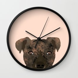Pitbull brindle coat dog portrait cute gifts for dog lover with pitbulls Wall Clock