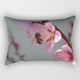 Honey Bee On Open Peach Tree Blossom Rectangular Pillow