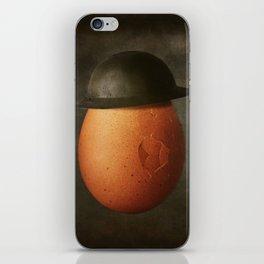 Vintage Egg in Brodie Helmet iPhone Skin